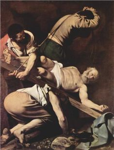 "Crucifixion of Saint Peter - Caravaggio.  1600.  Oil on canvas.  7' 6 1/2"" X 5' 8 3/4"".  Cerasi Chapel, Santa Maria del Popolo, Rome, Italy."