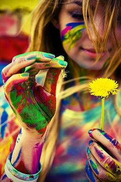 http://meriamber.tumblr.com/ colours colors messy paint dandelion girl bright paints flower childhood
