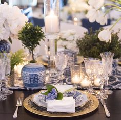 Beautiful blue and white tablescape.