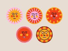 illustrator Sunny Faces by Mariel Abbene Acne- Does Food Make A Difference? Sonne Illustration, Illustration Design Graphique, Face Illustration, Illustrations, Digital Illustration, Pattern Illustration, Art Hippie, Design Art, Logo Design