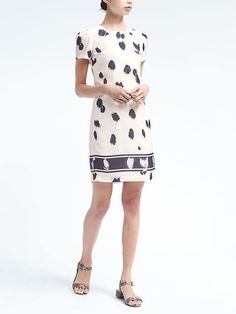 Banana Republic Womens Print Rouched Sleeve Shift Dress