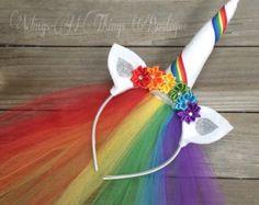 Arco iris UNICORN corona con velo de tul, cuerno, diadema, accesorio del pelo, Dress Up, cuerno, orejas, chicas, Halloween, niño, niños, cumpleaños, flores