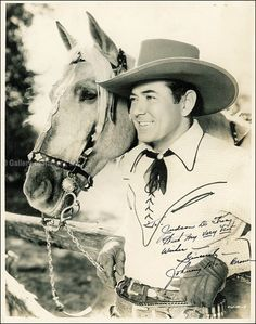 0 johnny mack brown Western movie hero with his horse, Rebel