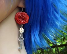 Skull Red Rose and Key Earrings Goth Dia de los Muertos goth Halloween Day of the Dead