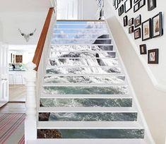 Grey Sea Water Stair Risers Decoration Mural Vinyl Wallpaper An Stairway Art, Stairway To Heaven, Marble Stairs, Stair Stickers, Stair Risers, Stair Makeover, House Stairs, Vinyl Wallpaper, Traditional Wallpaper