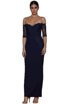 85e21f839dc Modern Navy Sheer Lace Sleeve Off Shoulder Her Fashion Maxi Dress   womensfashion  wedding