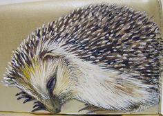 Awake Asleep Hedgehog Clutch  vintage handpainted by NYhop! Rupert!
