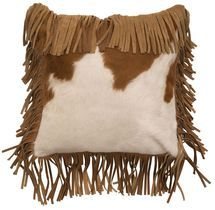 Brown and White Hair on Hide Pillow with leather fringe