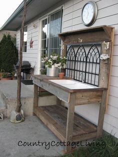 Garden sink and salvaged wood potting table. Pallet Potting Bench, Potting Tables, Potting Bench With Sink, Pallet Fence, Pallet Furniture, Garden Furniture, Recycled Furniture, Country Cottage Living, Outdoor Sinks