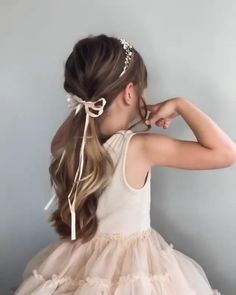 Beautiful Creation by @polishedstylejustine Accessory @SWEETV Kids Hairstyles For Wedding, Easy Little Girl Hairstyles, Flower Girl Hairstyles, Princess Hairstyles, Headband Hairstyles, Little Girl Updo, Girl Hair Dos, Baby Girl Hair, Flower Girl Headpiece
