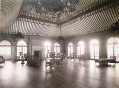 """Harbourwood, the Oyster Bay Cove, NY, estate of Commodore J. Stuart Blackton, co-founder of the Vitagraph Motion Picture company, included a ballroom with a tented ceiling, in which he entertained members of """"Gold Coast"""" Society and stars from the emerging movie industry."""