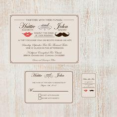 Mustache and Lips Wedding Invite Suite. $40.00, via Etsy.