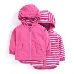 Reversible Waterproof Fleece Lined Rain Jacket in Fuschia | JoJo Maman Bebe