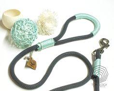 Topology Handmade Creations_Chic Charcoal Grey & Mint Climbing Rope Dog…