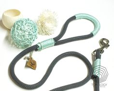 Topology Handmade Creations_Chic Charcoal Grey & Mint Climbing Rope Dog Leash - Stylish & unique