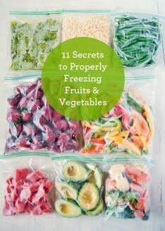 Freezing fruits and veggies