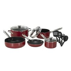 WearEver Cook and Strain Nonstick Stainless Steel Handle Red Metallic Exterior Cookware Set, Cooking Utensils, Cooking Tools, Muffin Pans, Non Stick Pan, Cookware Set, Home Kitchens, Home Appliances, Red, Handle