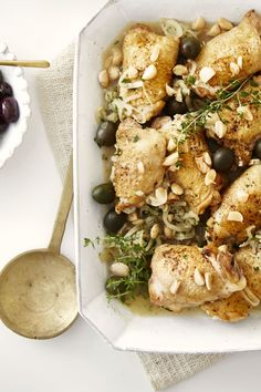 Braised Chicken Thighs with Almonds and Olives