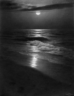 """The Summer Sea"" photo by Rudolf Eickemeyer Jr. Willy Ronis, Vintage Photography, Art Photography, Moonlight Photography, Beautiful Moon, Beautiful Places, Black N White, Black Swan, Dark Night"