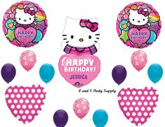 HELLO KITTY PERSONALIZED Birthday party Balloons Decoration Supplies Girl NEW!!!