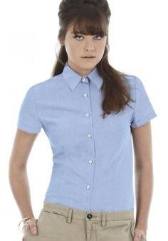 Camicia-camicetta-aziendale-donna-Oxford-Manica-corta-Tinta-unita-Stiro-facile