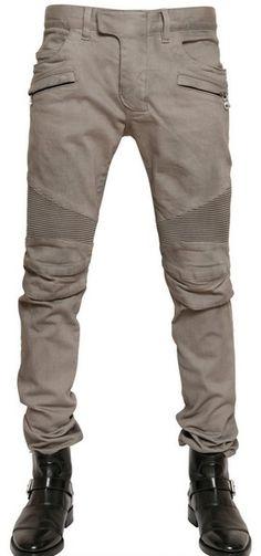 e5c443a0 Balmain Stretch Denim Biker Jeans - Lyst Men Trousers, Balmain Men, Biker  Jeans,