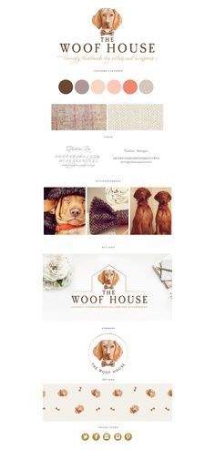watercolor, vizsla, dog logo, logo design, pet accessories, illustration, dog, branding, brown, red, orange, palette
