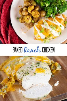 The easiest five ingredient baked ranch chicken made with ranch dressing and seasoning mix that is going to become your favorite dinner option. Ranch Dressing Chicken, Baked Ranch Chicken, Ranch Dressing Recipe, Ranch Recipe, Easy Baked Chicken, Baked Chicken Breast, Chicken Breasts, Oven Chicken Recipes, Bacon Recipes