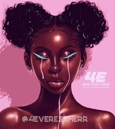 Pretty Tears Art Print by - X-Small Sexy Black Art, Black Love Art, Black Girl Art, Art Girl, Black Art Painting, Black Artwork, Natural Hair Art, Pelo Natural, Drawings Of Black Girls