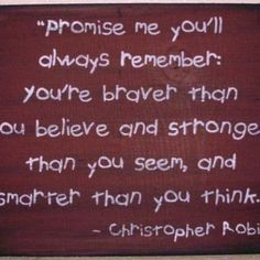 Primitive Winnie the Pooh Sign Promise Me Christopher Robin Plaque Inspirational You're Stronger Braver Smarter Than you think Nursery New baby gift by SleepyHollowPrims for $25.00