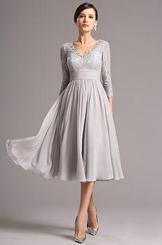 Lang Spitze Ärmel Tiefer Ausschnitt Grau Überknie Kleid (26160108) - EUR 118,99