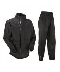 Unisex Active Cycling Waterproof Jacket   Trouser Set - Black - CB11L2DWD3N fcd1f3982