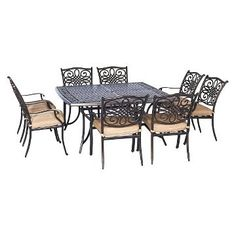 """Hanover Traditions 9-Piece Square Dining Set with Eight Dining Chairs and a Large Dining Table - 60""""x60 already viewed"""