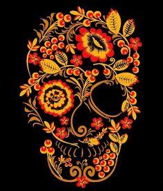 """""""Khokhloma Skull"""" Khokhloma or Khokhloma painting (Хохлома or Хохломска& Sugar Skull Artwork, Sugar Skull Drawings, Candy Skulls, Sugar Skulls, Totenkopf Tattoos, Day Of The Dead Skull, Psy Art, Sugar Skull Tattoos, Skeleton Art"""