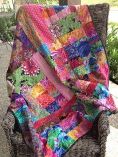 Handmade Scrappy Lap Quilt Desiner Kaffe Fassett fabrics Minky back by Molly Bright Quilts