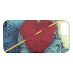 cute wool heart with knitting needle photograph iPhone 8/7 case - vintage heart gifts love hearts custom