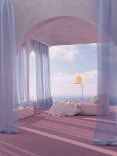 💖💜 Design by . A place to rest your mind. Imagine piano music supported by the sounds of ocean waves. A collaboration project creating together with Simon Kaempfer - - - - Repost . Interior Architecture, Interior And Exterior, Luxury Interior, Modern Interior, Modern Decor, 1980s Interior, Futuristic Interior, Purple Interior, Futuristic Architecture