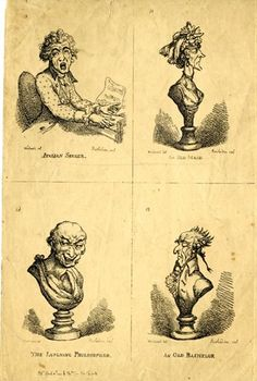 1806 portrait of a man wearing ear-rings, with his hands on and over the keyboard of a piano, looking round, with eyes turned up, and mouth wide. An attack on large fees to foreign opera-dancers and singers. Bust in profile to the right, of an elderly, lean, sharp-featured, sour-looking prude, with closed eyes. Bust in profile to the left, of a lean, elderly, wrinkled, sour-looking man. Bust of an old man, laughing cynically, intended for Democritus.