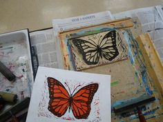 """printmaking step by step - the visual instructions are fantastic in this tutorial... Using both sides of the lino: one """"color"""" side, one """"black"""" side"""