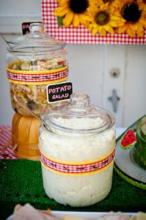 @Tiffany Jones I have some jars like this. They would be cute on the food table with the tortilla chips, etc... in them.