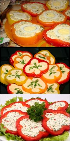 Spicy and quick appetizer - pepper with cheese .- Spicy and quick appetizer – pepper with cheese filling! DISH – A TALE! Salad Recipes, Dessert Recipes, Veg Dishes, Quick Appetizers, Party Buffet, Cooking Recipes, Healthy Recipes, Snacks Für Party, Ratatouille
