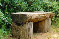Super Ideas For Rustic Patio Furniture Diy Tree Stumps Rustic Outdoor Benches, Rustic Outdoor Furniture, Rustic Bench, Outdoor Seating, Log Benches, Rustic Wood, Outdoor Decor, Trunk Furniture, Diy Garden Furniture