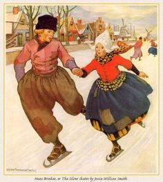 Vintage Christmas Card with Dutch Skaters The cover of Hans Brinker and the Silver Skates...my father's book as a child.