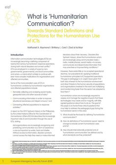 What is 'Humanitarian Communication'? Towards Standard Definitions and Protections for the Humanitarian Use of ICTs | Harvard Humanitarian Initiative