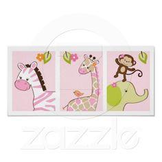 Girl Jungle Animal Jungle Jill Nursery Wall Art Poster