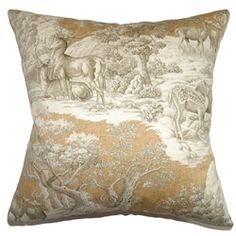 "Add this lovely toile throw pillow in your Safari theme home design. This square pillow features an exquisite wildlife print design in warm colors of brown and white. The design is very versatile, and it can be used as contemporary or lodge style accent piece. This 18"" pillow is crafted in high-quality 100% cotton fabric. The details in this decor pillow shows the front view of Feramin Toile Pillow Safari. $55.00 #toileprint #toile #tosspillow"