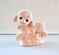 Vintage Sheep Lamb Planter  Ceramic Pink by PeachParlorVintage, $13.00
