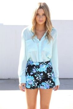 Style Duo: Shorts and Button Downs... love the floral shorts and light blue button down!