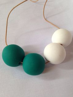 Green & White 'Andrea' Clay Bead Necklace