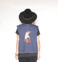Vintage Denim Vest w/ Embroidered Eagle by redpoppyvintageshop, $38.00